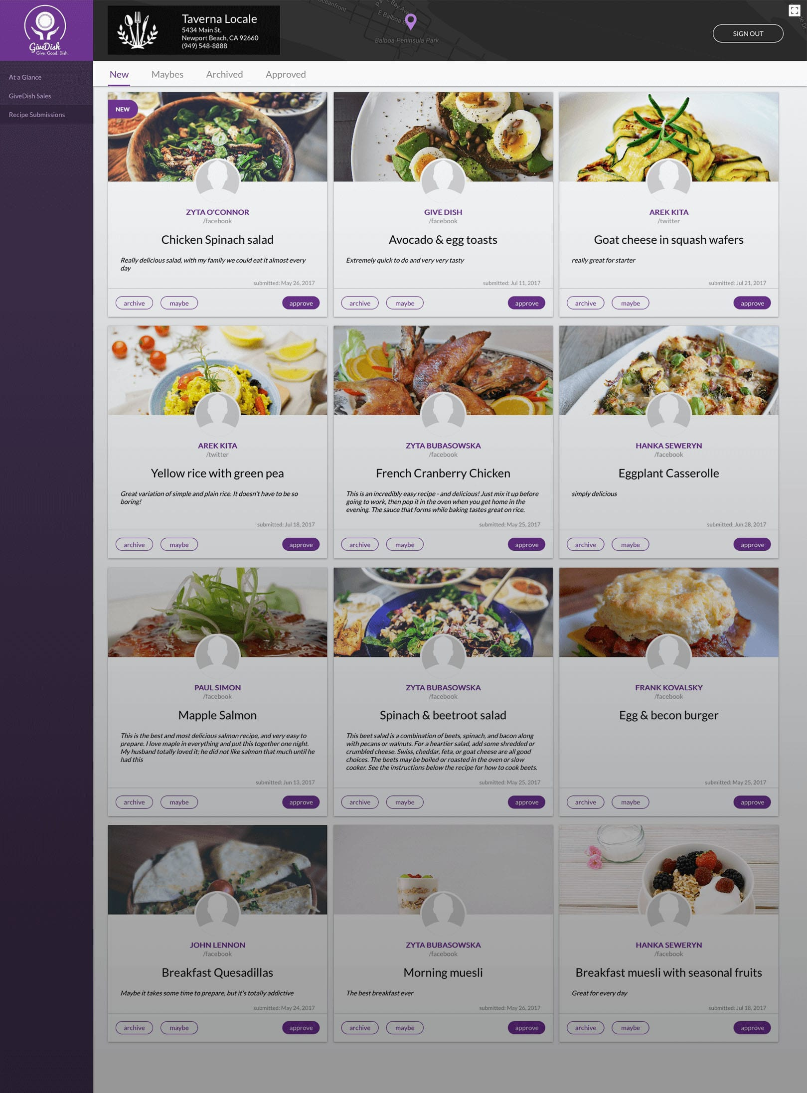 GiveDish - restaurant dashboard for managing menu items for a restaurant participating in a donation program.