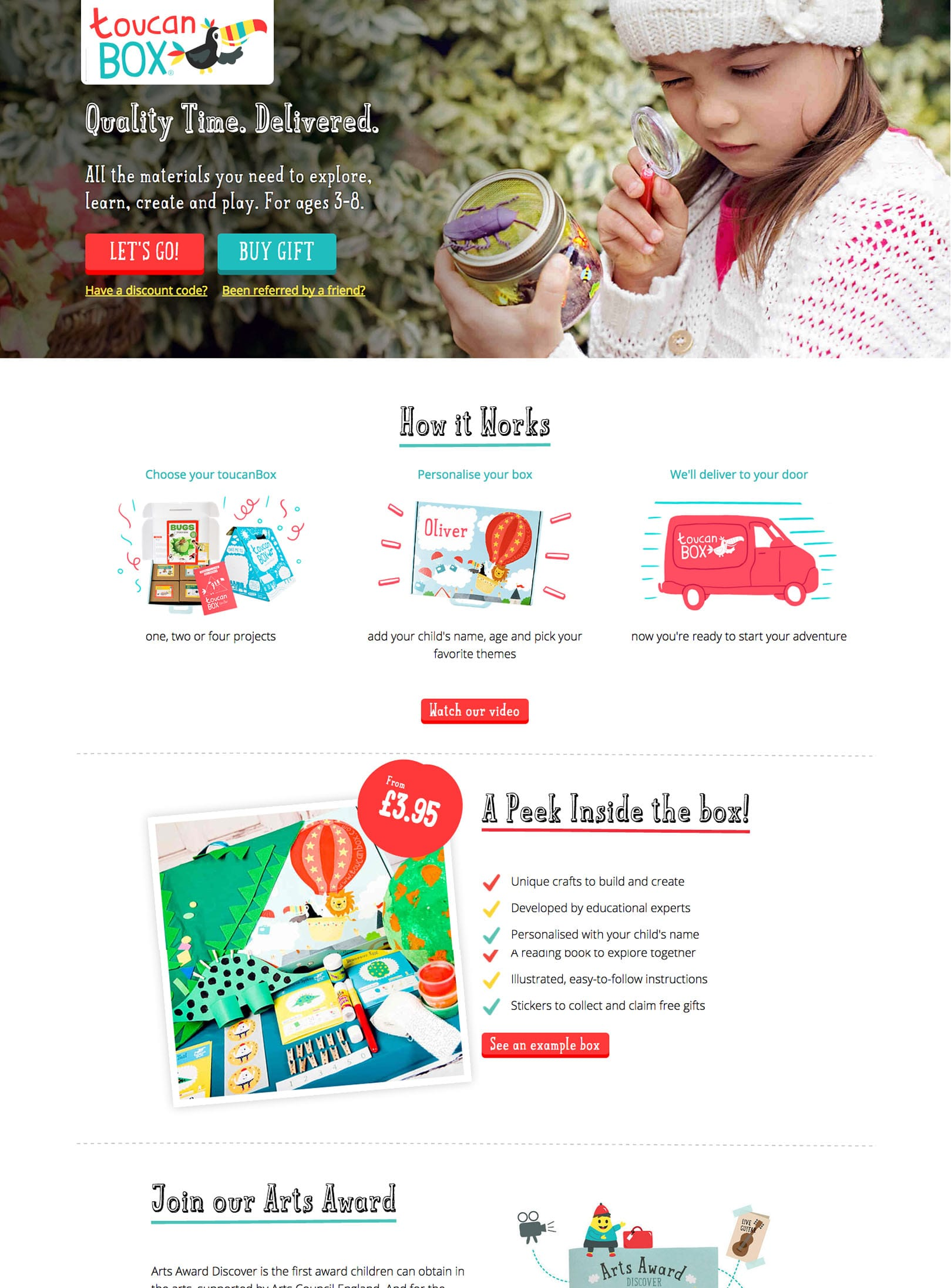 toucanBox - a website and an e-shop with boxes containing creative materials for children.