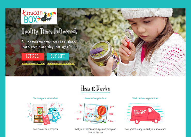 toucanBox - a web shop for a creative materials